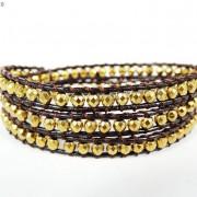 Handmade-Natural-Hematite-Gemstone-Beads-Wrap-Leather-Bracelet-Black-Silver-Gold-281351855358-77bd