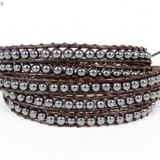 Handmade-Natural-Hematite-Gemstone-Beads-Wrap-Leather-Bracelet-Black-Silver-Gold-281351855358-7f37