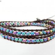 Handmade-Natural-Hematite-Gemstone-Beads-Wrap-Leather-Bracelet-Black-Silver-Gold-281351855358-84e7