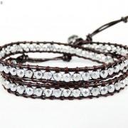 Handmade-Natural-Hematite-Gemstone-Beads-Wrap-Leather-Bracelet-Black-Silver-Gold-281351855358-87cb