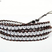 Handmade-Natural-Hematite-Gemstone-Beads-Wrap-Leather-Bracelet-Black-Silver-Gold-281351855358-a802