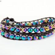 Handmade-Natural-Hematite-Gemstone-Beads-Wrap-Leather-Bracelet-Black-Silver-Gold-281351855358-b3b2