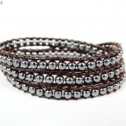 Handmade-Natural-Hematite-Gemstone-Beads-Wrap-Leather-Bracelet-Black-Silver-Gold-281351855358-b823