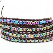 Handmade-Natural-Hematite-Gemstone-Beads-Wrap-Leather-Bracelet-Black-Silver-Gold-281351855358-c363