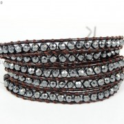 Handmade-Natural-Hematite-Gemstone-Beads-Wrap-Leather-Bracelet-Black-Silver-Gold-281351855358-c4d1