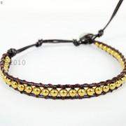 Handmade-Natural-Hematite-Gemstone-Beads-Wrap-Leather-Bracelet-Black-Silver-Gold-281351855358-c8a3