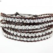 Handmade-Natural-Hematite-Gemstone-Beads-Wrap-Leather-Bracelet-Black-Silver-Gold-281351855358-cd18
