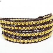 Handmade-Natural-Hematite-Gemstone-Beads-Wrap-Leather-Bracelet-Black-Silver-Gold-281351855358-d1a2