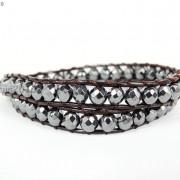 Handmade-Natural-Hematite-Gemstone-Beads-Wrap-Leather-Bracelet-Black-Silver-Gold-281351855358-d201