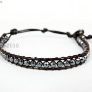 Handmade-Natural-Hematite-Gemstone-Beads-Wrap-Leather-Bracelet-Black-Silver-Gold-281351855358-de0d