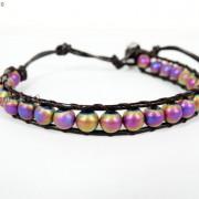 Handmade-Natural-Hematite-Gemstone-Beads-Wrap-Leather-Bracelet-Black-Silver-Gold-281351855358-eb3e
