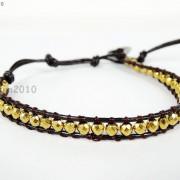 Handmade-Natural-Hematite-Gemstone-Beads-Wrap-Leather-Bracelet-Black-Silver-Gold-281351855358-f4fa