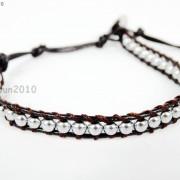 Handmade-Natural-Hematite-Gemstone-Beads-Wrap-Leather-Bracelet-Black-Silver-Gold-281351855358-f587