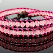 Handmade-Natural-Rose-Quartz-Gemstone-Beads-Wrap-Leather-Bracelet-Healing-Reiki-261999868901-37b6