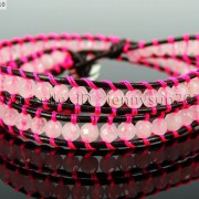 Handmade-Natural-Rose-Quartz-Gemstone-Beads-Wrap-Leather-Bracelet-Healing-Reiki-261999868901-787c