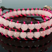 Handmade-Natural-Rose-Quartz-Gemstone-Beads-Wrap-Leather-Bracelet-Healing-Reiki-261999868901-8901