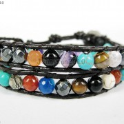 Hot-Colorful-Handmade-Mixed-Crystal-and-Gemstones-Beads-Wrap-Leather-Bracelet-370919965763-104c
