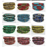Hot-Colorful-Handmade-Mixed-Crystal-and-Gemstones-Beads-Wrap-Leather-Bracelet-370919965763-2
