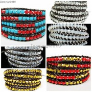 Hot-Colorful-Handmade-Mixed-Crystal-and-Gemstones-Beads-Wrap-Leather-Bracelet-370919965763-3