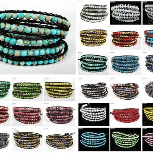 Hot-Colorful-Handmade-Mixed-Crystal-and-Gemstones-Beads-Wrap-Leather-Bracelet-370919965763