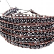 Hot-Colorful-Handmade-Mixed-Crystal-and-Gemstones-Beads-Wrap-Leather-Bracelet-370919965763-301d