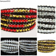 Hot-Colorful-Handmade-Mixed-Crystal-and-Gemstones-Beads-Wrap-Leather-Bracelet-370919965763-4
