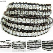 Hot-Colorful-Handmade-Mixed-Crystal-and-Gemstones-Beads-Wrap-Leather-Bracelet-370919965763-6