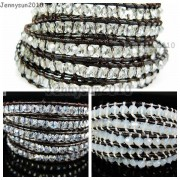 Hot-Colorful-Handmade-Mixed-Crystal-and-Gemstones-Beads-Wrap-Leather-Bracelet-370919965763-7
