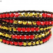 Hot-Colorful-Handmade-Mixed-Crystal-and-Gemstones-Beads-Wrap-Leather-Bracelet-370919965763-948b