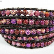 Hot-Colorful-Handmade-Mixed-Crystal-and-Gemstones-Beads-Wrap-Leather-Bracelet-370919965763-a126