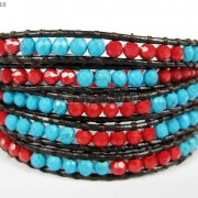 Hot-Colorful-Handmade-Mixed-Crystal-and-Gemstones-Beads-Wrap-Leather-Bracelet-370919965763-dc58