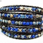 Hot-Colorful-Handmade-Mixed-Crystal-and-Gemstones-Beads-Wrap-Leather-Bracelet-370919965763-ebda