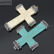 Howlite-Turquoise-Czech-Crystal-Rhinestones-Cross-Pendant-Charm-Beads-White-Blue-262161692588-2