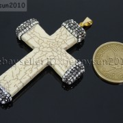 Howlite-Turquoise-Czech-Crystal-Rhinestones-Cross-Pendant-Charm-Beads-White-Blue-262161692588-3