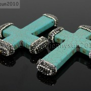 Howlite-Turquoise-Czech-Crystal-Rhinestones-Cross-Pendant-Charm-Beads-White-Blue-262161692588-4