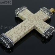Howlite-Turquoise-Czech-Crystal-Rhinestones-Cross-Pendant-Charm-Beads-White-Blue-262161692588-4883