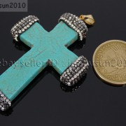 Howlite-Turquoise-Czech-Crystal-Rhinestones-Cross-Pendant-Charm-Beads-White-Blue-262161692588-5