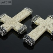 Howlite-Turquoise-Czech-Crystal-Rhinestones-Cross-Pendant-Charm-Beads-White-Blue-262161692588-6