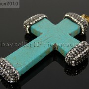 Howlite-Turquoise-Czech-Crystal-Rhinestones-Cross-Pendant-Charm-Beads-White-Blue-262161692588-61cc