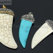 Howlite-Turquoise-Horn-Tusk-Tooth-Spike-Crystal-Rhinestones-Pendant-Charm-Beads-371495907323