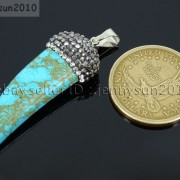 Howlite-Turquoise-Horn-Tusk-Tooth-Spike-Crystal-Rhinestones-Pendant-Charm-Beads-371495907323-3