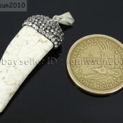 Howlite-Turquoise-Horn-Tusk-Tooth-Spike-Crystal-Rhinestones-Pendant-Charm-Beads-371495907323-5