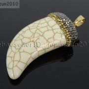 Howlite-Turquoise-Horn-Tusk-Tooth-Spike-Crystal-Rhinestones-Pendant-Charm-Beads-371495907323-6