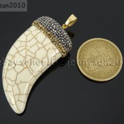 Howlite-Turquoise-Horn-Tusk-Tooth-Spike-Crystal-Rhinestones-Pendant-Charm-Beads-371495907323-7