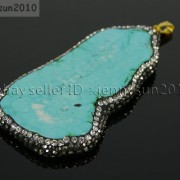 Howlite-Turquoise-Sliced-Gemstone-Czech-Crystal-Rhinestones-Pendant-Charm-Beads-371498019285-a9ab