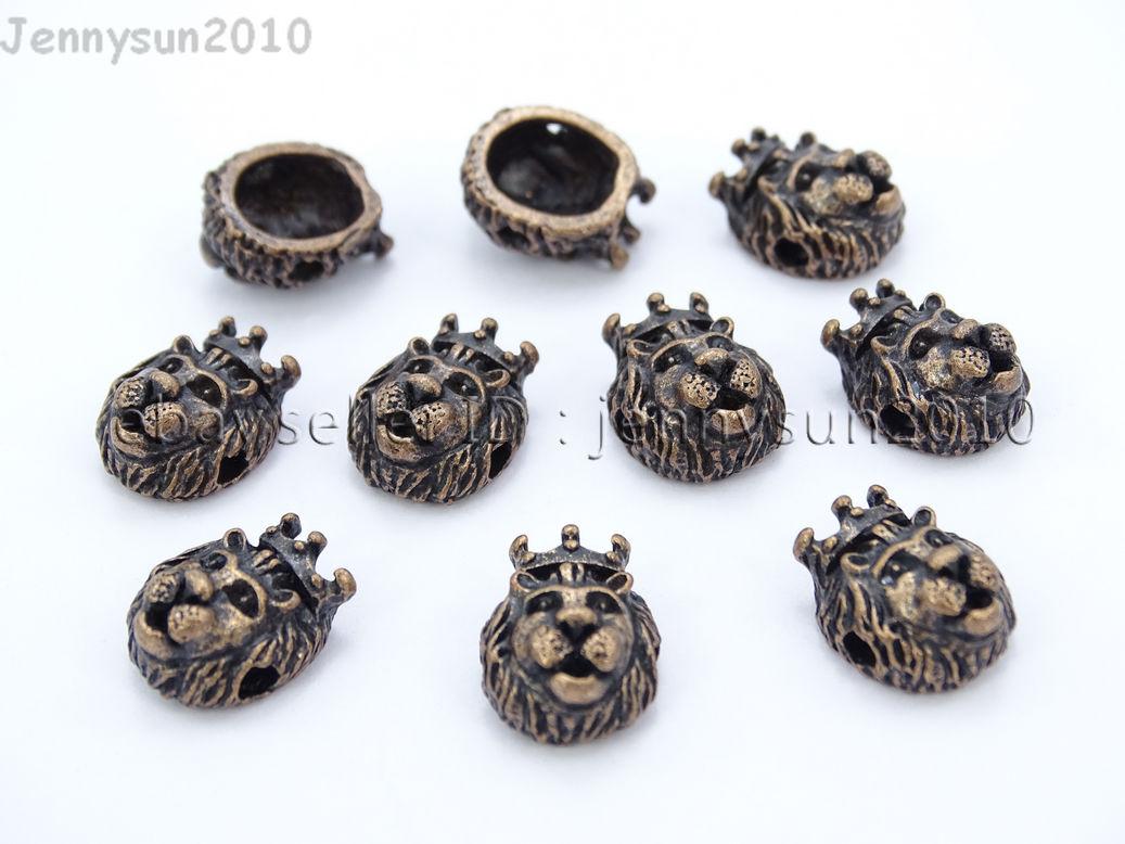 King Crown Lion Head Bracelet Necklace Connector Charm