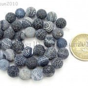 Matte-Frosted-Black-Fire-Crackle-Agate-Gemstones-Round-Beads-15quot-6mm-8mm-10mm-262198152811-0587