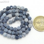 Matte-Frosted-Black-Fire-Crackle-Agate-Gemstones-Round-Beads-15quot-6mm-8mm-10mm-262198152811-298e