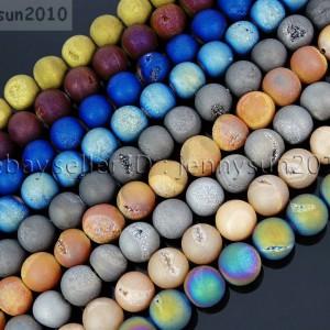 Metallic-Titanium-Coated-Druzy-Quartz-Agate-Gemstones-Round-Beads-15-8mm-10mm-262198159740
