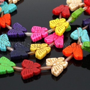 Mix-Color-Howlite-Turquoise-13x15mm-New-Style-Butterfly-Loose-Spacer-Beads-16-261207265003